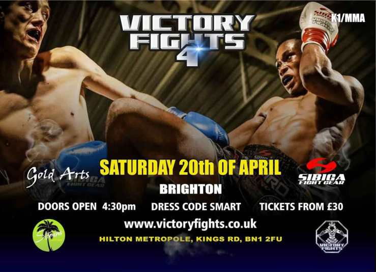 Victory Fights 4 Brighton Hilton Metropole, Sussex. MMA and kickboxing fight night.